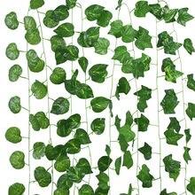 230cm hojas artificiales guirnalda Artificial Verde Hoja de vid hiedra Artificial planta de pared colgante Garland boda partido casa jardín decoración