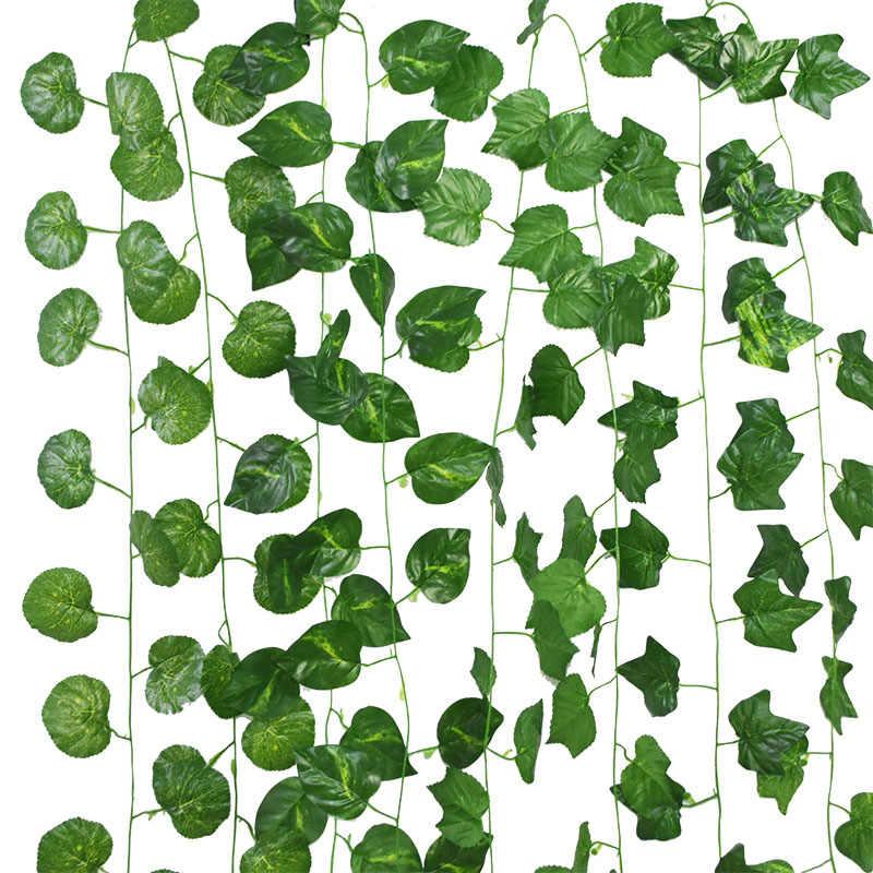 Plantas artificiales Hiedra emuladora verde Hiedra artificial Hoja Pl/ástico Pantalla de jard/ín Rollos Pared Paisajismo Planta de c/ésped falso Fondo de pared Planta colgante verde imitaci/ón Vid