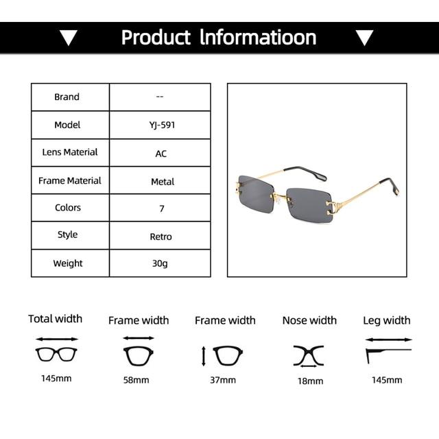 прямоугольные узкие маленькие солнцезащитные очки без оправы фотография