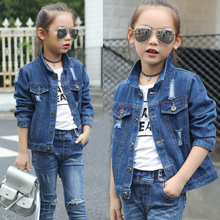 Kids Denim Jackets for Girl Jean Coat Clothing 2019 Spring Autumn Fashion Hole Girls Outerwear 5-14Y Children Jacket недорого