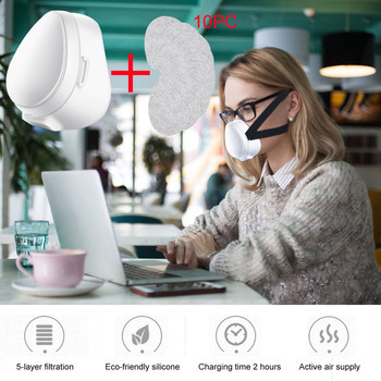 10PCS Filter Smart Electric Dustproof Face Mask Anti-Fog Air Purification Respirator Automatic Fresh Sports Repeated Use