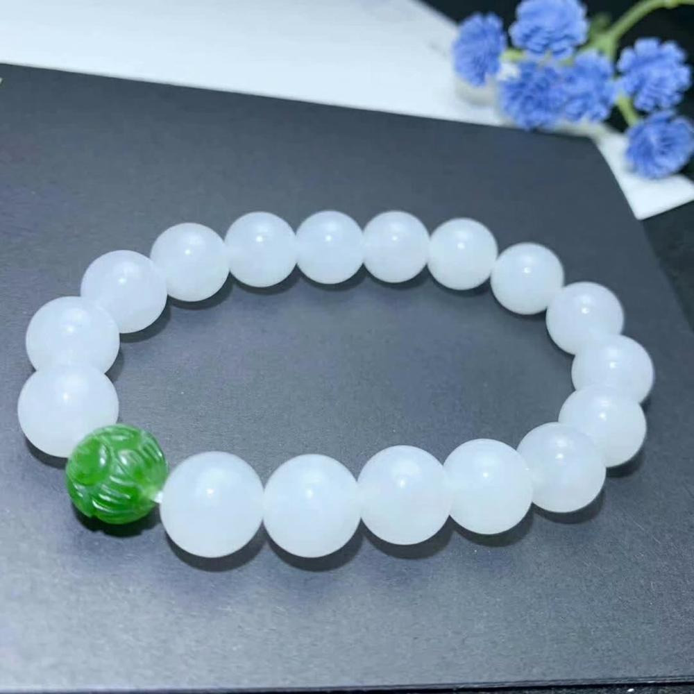 SHILOVEM real Natural white Jasper bracelets classic fine Jewelry women party Christmas gifts  10*10mm myml1010883hby