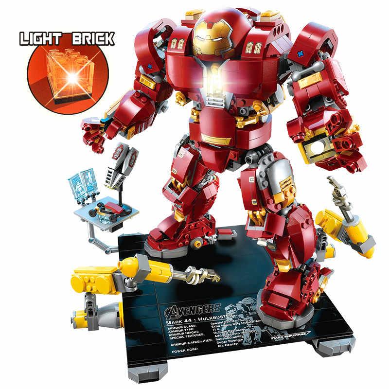 1530 шт. железные человеческие Мстители Строительные блоки Legoing Marvel Super Heroes халкбастер со светом Кирпичи игрушки для детей мальчиков подарки