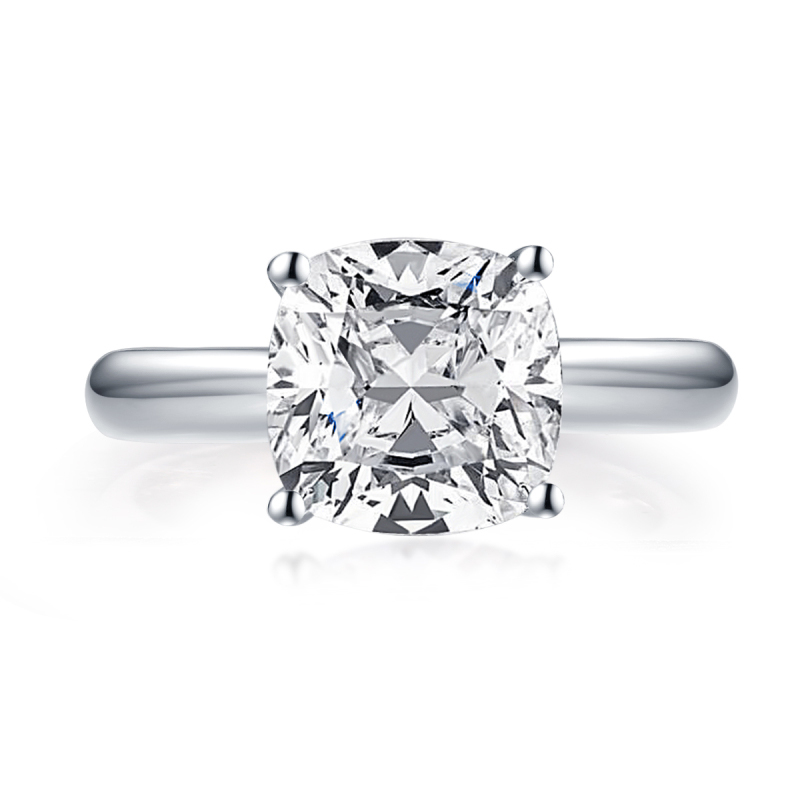 LESF Fashion 3.0 CT Cushion Cut Solitaire Ring 925 Sterling Silver Engagement Shiny SONA Stone Wedding Silver Rings