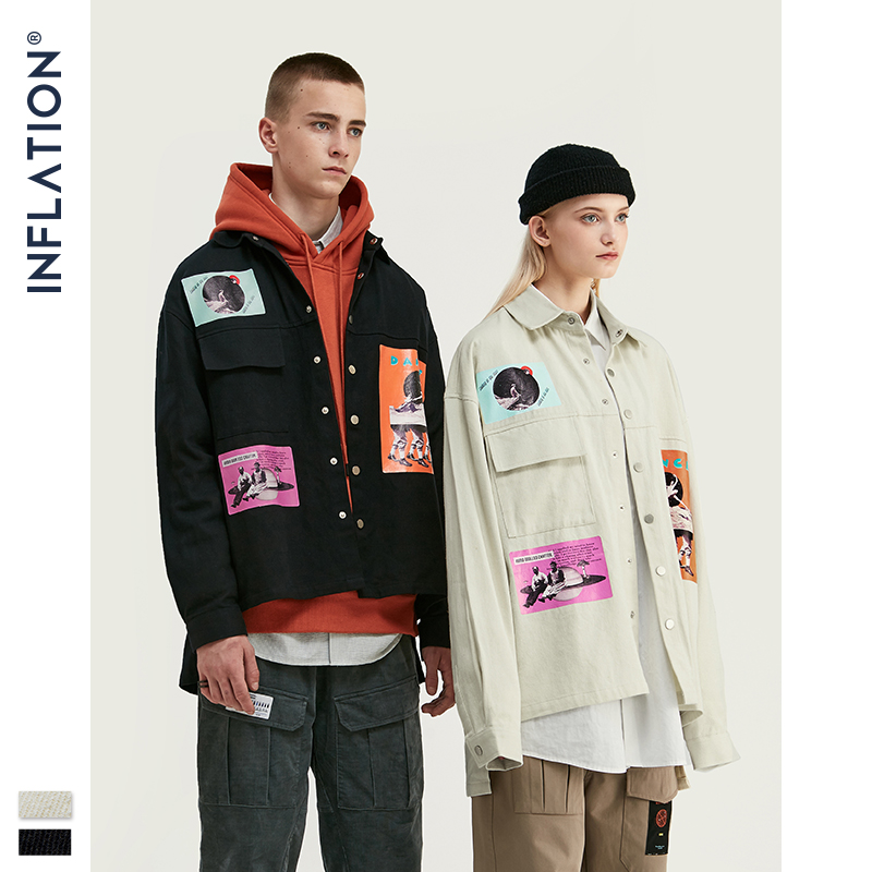 Image 2 - INFLATION DESIGN Oversized Fit Graphic Printing Men Shirt Black  White Relaxed  Men Casual Shirt Streetwear Style 92154WCasual Shirts