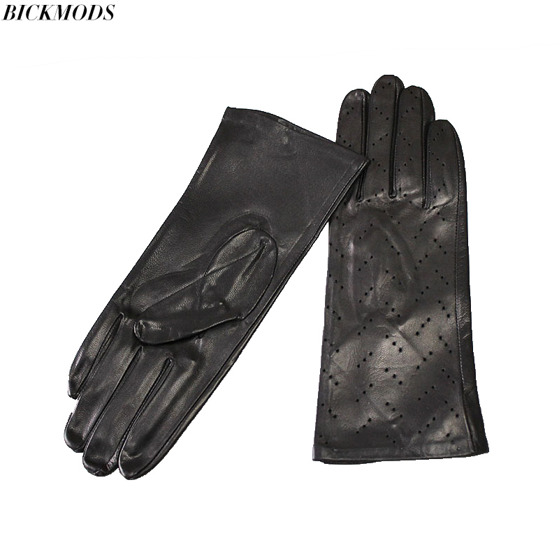 Leather Gloves New Women Single Leather Unlined Thin Section Perforated Hollow Spring And Summer Driving Goatskin Driver Gloves