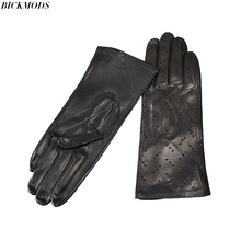 Leather gloves New women single leather unlined thin section perforated hollow spring and summer driving goatskin driver