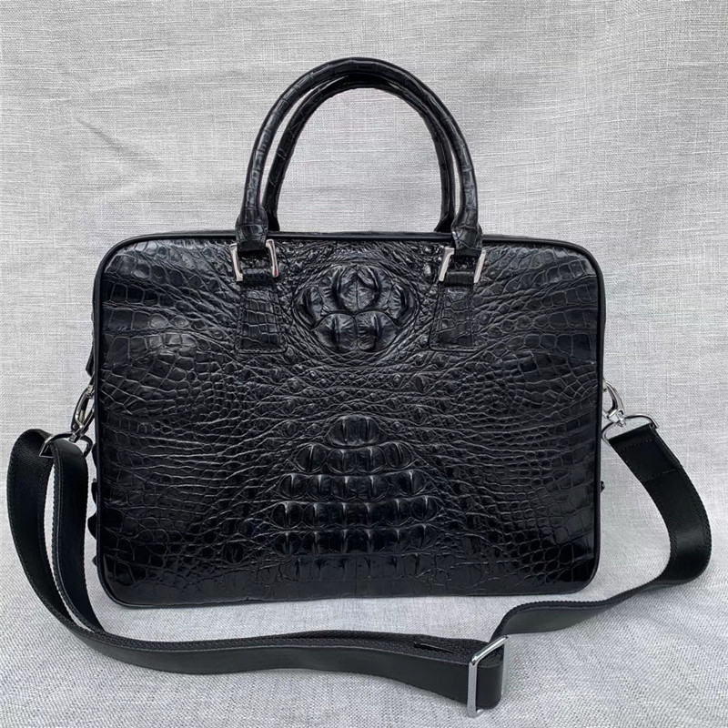 Exotic Real Crocodile Skin Zipper Closure Businessmen Laptop Briefcase Shoulder Bag Genuine Alligator Leather Male Large Handbag