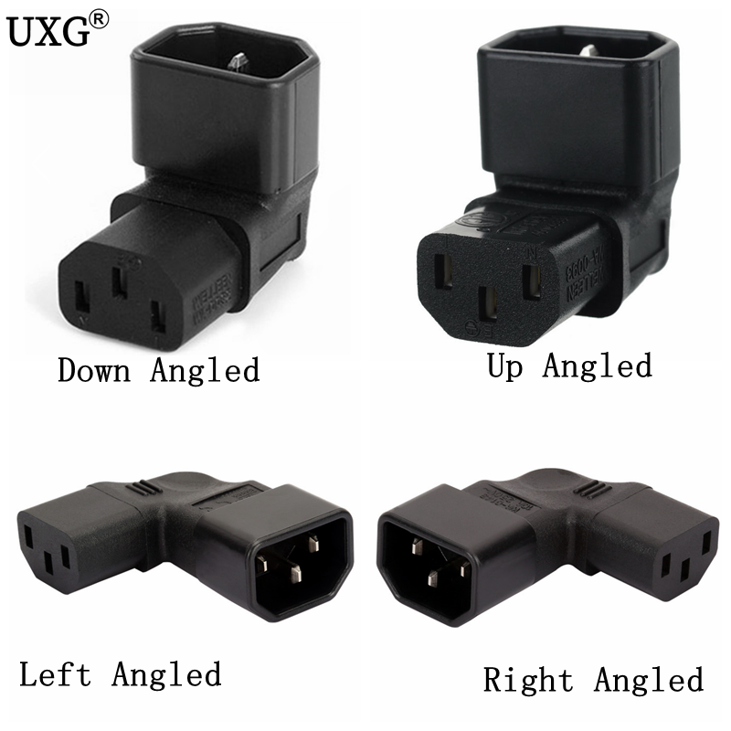 IEC 320 C14 To C13 Left Right Angle AC Adapter IEC 3Pole IEC 320 3pin Male To Female Extend 90 Degree Down Up Angle AC Converter