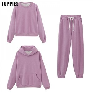 toppies 2020 autumn womens hooded sweatshirts casual tracksuit tops +pants jogger two piece set streetwear