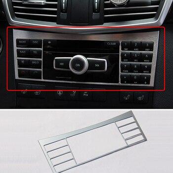 Decoración de coche, Panel de botones para consola central Interior, cubierta decorativa cromada de placa CD para Mercedes Benz W212 E Class AMG E200L