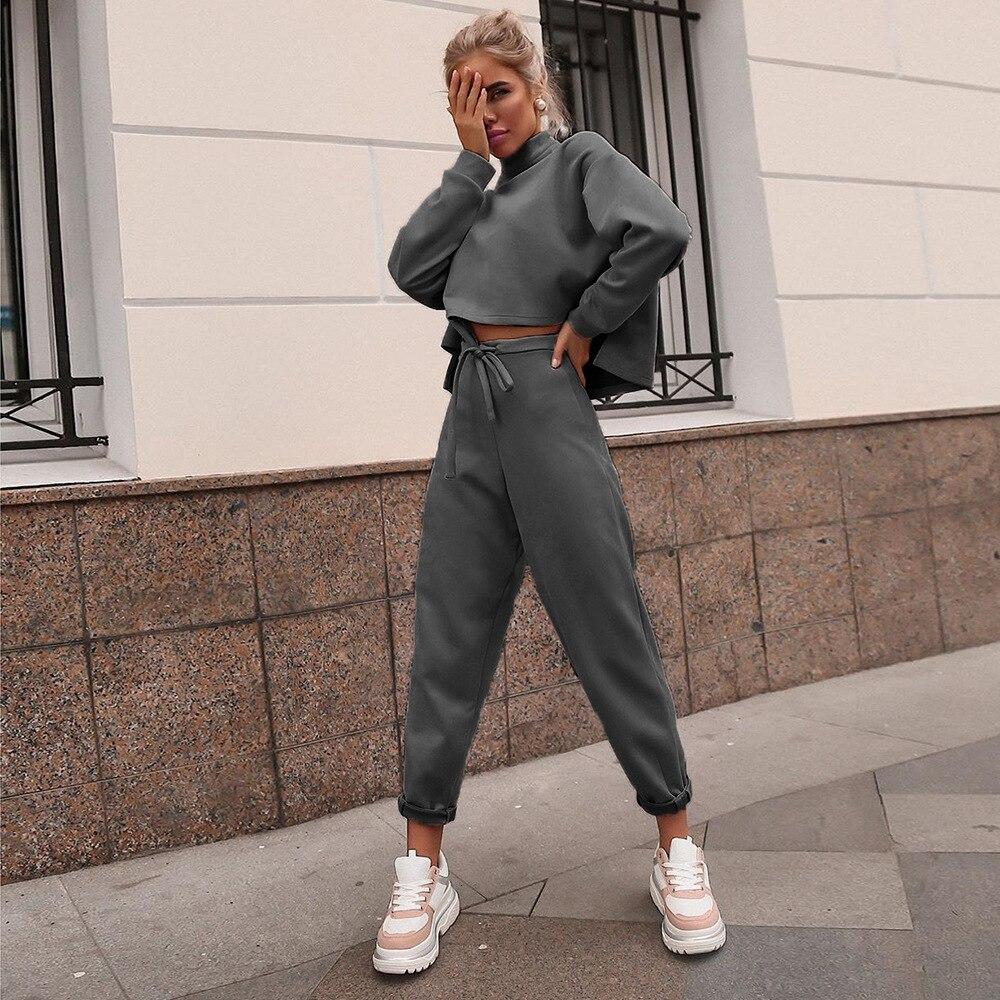 Image 4 - Women Black Loose Tracksuit Crop Top Harem Pants Matching Suit  Fashion Autumn Casual Female Long Sleeve Sweatshirt 2 Piece SetWomens  Sets