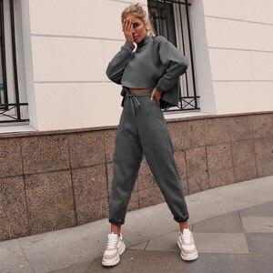 Image 4 - Women Black Loose Tracksuit Crop Top Harem Pants Matching Suit Fashion Autumn Casual Female Long Sleeve Sweatshirt 2 Piece Set