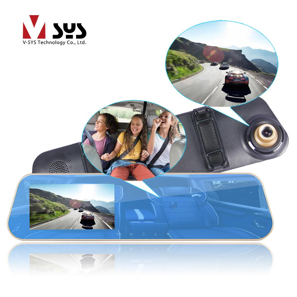 SYS VSYS Dual Cameras Rearview Mirror DVR Front 2K 1296P+720P Interior Cabin Security Camera Dash Cam for Car Taxi <font><b>Uber</b></font> image