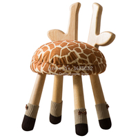 Cartoon Animal Baby Stool Solid Wood Children Lovely Small Household Bench Fawn Chair Furniture Combination