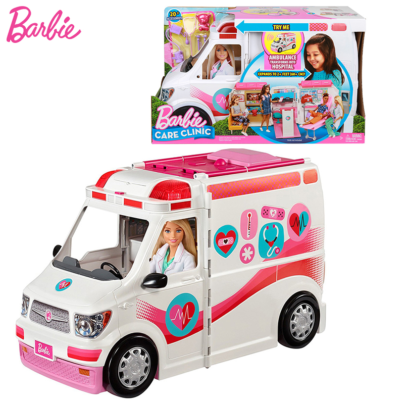 Original Barbie Girls Doll House Suit Doctor Ambulance Clinic Car Toy Vehicle Gift Box First Aid Scene Playset Accessories Toys