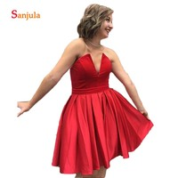 Red Satin Homecoming Dresses Short V Front Sexy Gilrs Graduation Gowns Cheap Homecoming Dress Knee Length D1203