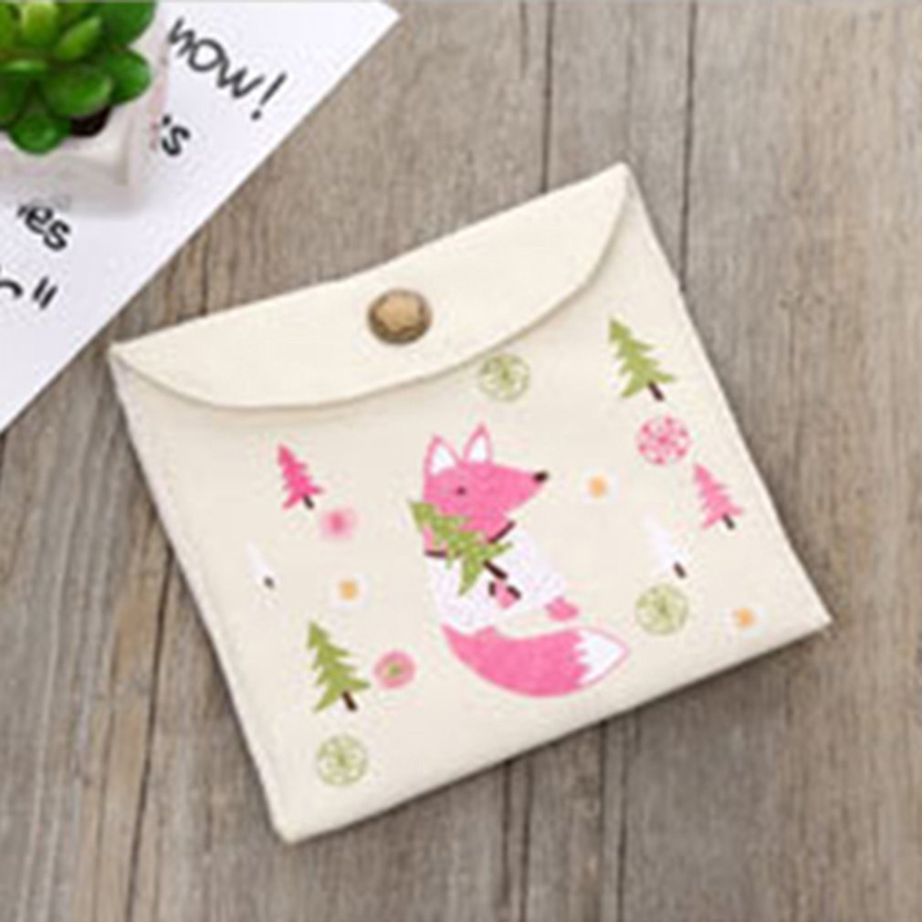 Women Girls Cotton Linen Sanitary Napkin Bag Portable Sanitary Pad First aid kits Storage Organizer Case Pouch Purse Holder