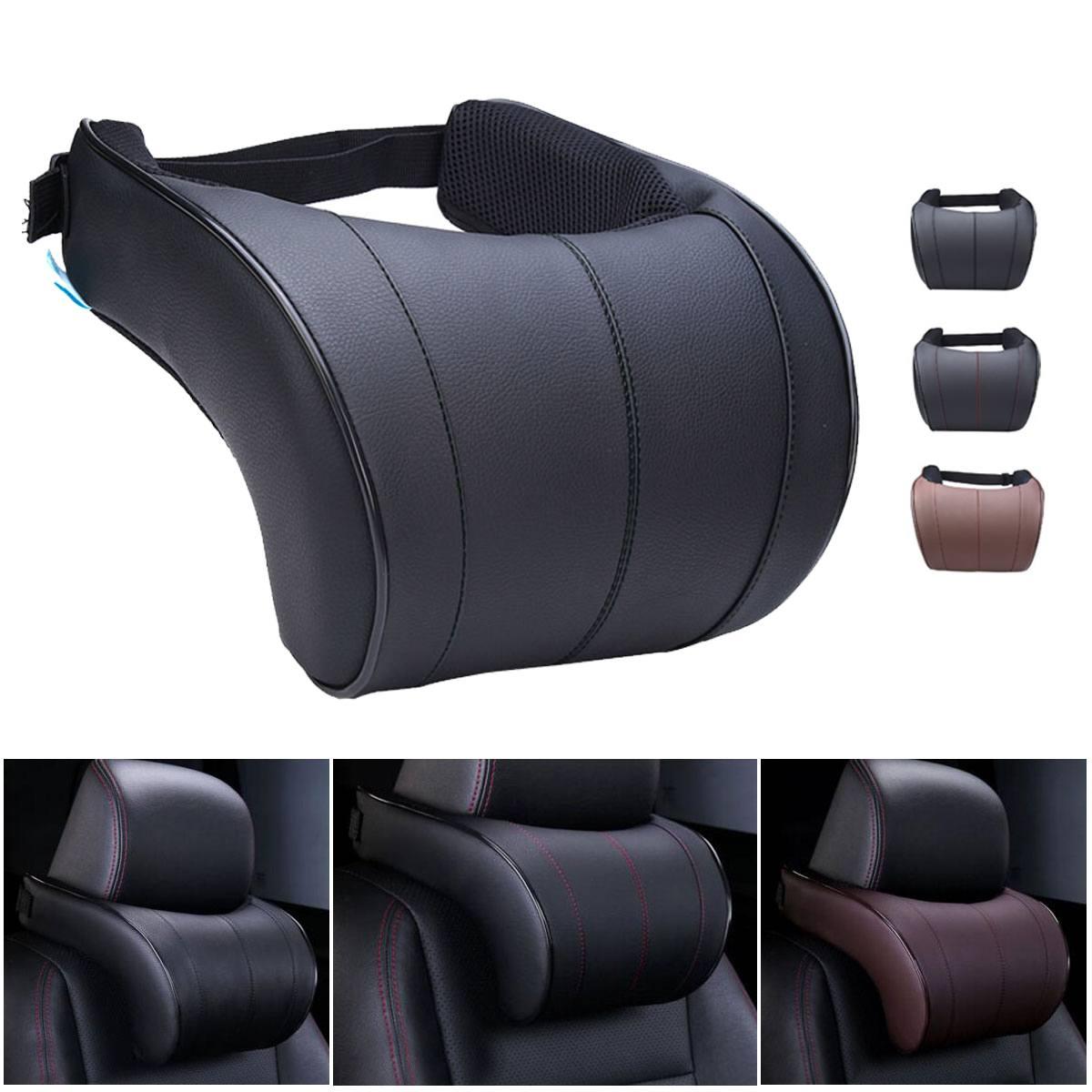 Couro do plutônio auto carro pescoço travesseiro espuma de memória enchimento pescoço resto assento encosto de cabeça travesseiro para gadget carro acessórios