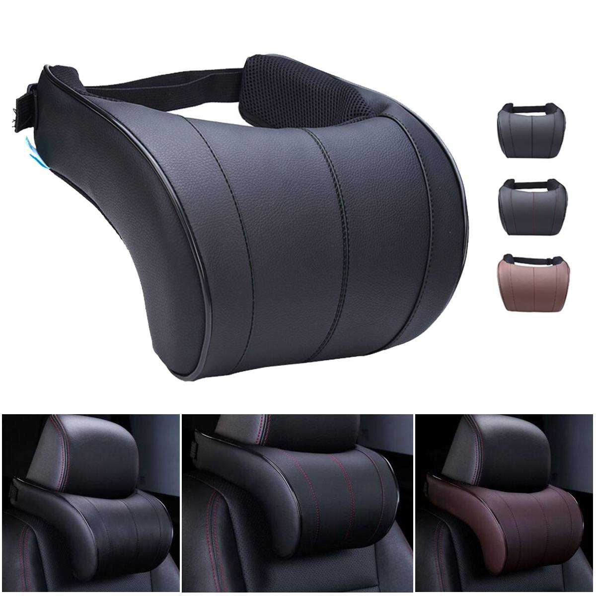 PU Leather Auto Car Neck Pillow Memory Foam Filling Neck Rest Seat Headrest Pillow For Car Gadget Auto Accessories