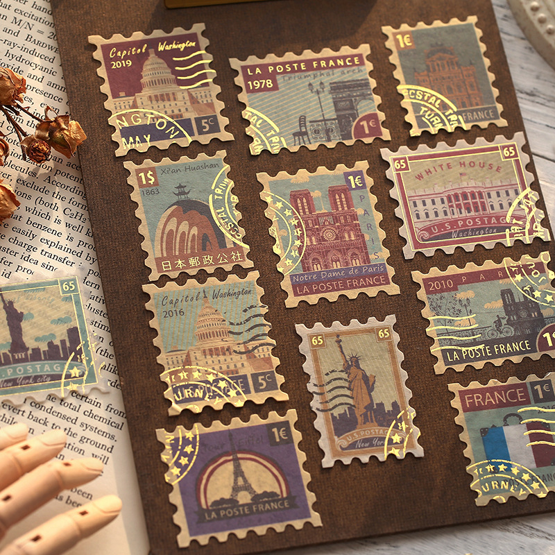 Retro Ticket Memory Series Decorative Stickers Set Scrapbooking Stick Label Diary Stationery Album Travel Stamp Gold Sticker