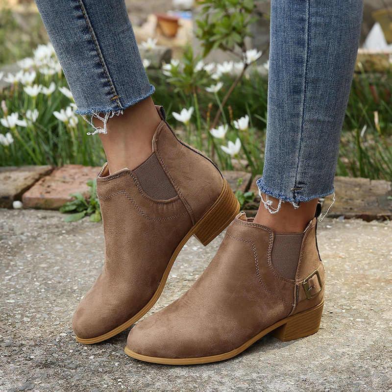 2019 Retro Yüksek Topuk yarım çizmeler Kadın Chic Sonbahar Kadın Ayakkabı Blok Orta Topuklu Rahat Botas Mujer Patik Feminina Artı Boyutu 43