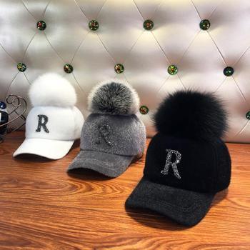 Fashion Faux fur ball baseball cap winter Faux seahorse hair Warm Cap For Women Rhinestone Diamond Letter Visor Hats