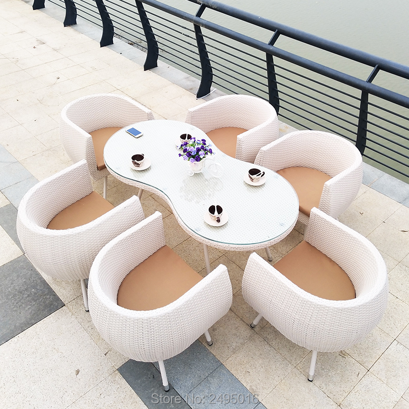 7 Pcs Metal Frame And Rattan Garden Dining Sets Patio Wicker Sectional Table And Chairs With Cushions For  Indoor And Outdoor