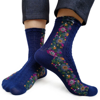 High quality Knitted Winter Men socks striped Floral Wedding Breathable Sexy Gay Formal dress socks Male Sox