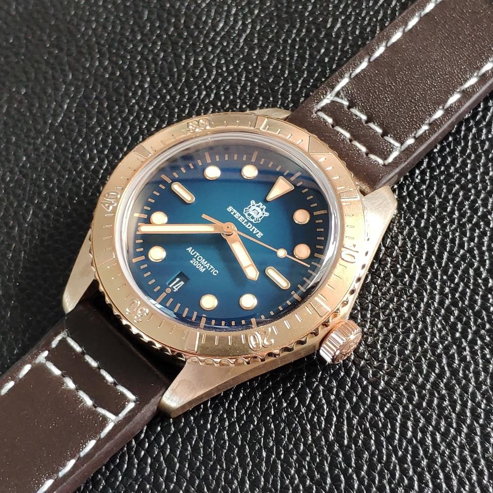 STEELDIVE 200m Diver Bronze Watch automat mechan C3 Super Luminous Automatic Mechanical Watches Men CuSn8 automat dive watch man