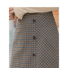 INMAN Spring New Arrival Womens Literary Retro Style High Waist Plaid Slide Single Buttons Women Fitting A Line Skirt