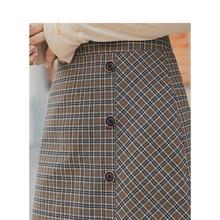 INMAN 봄 신착 여성 문학 복고풍 스타일 하이 웨이스트 체크 무늬 슬라이드 싱글 버튼 여성 피팅 a 라인 스커트