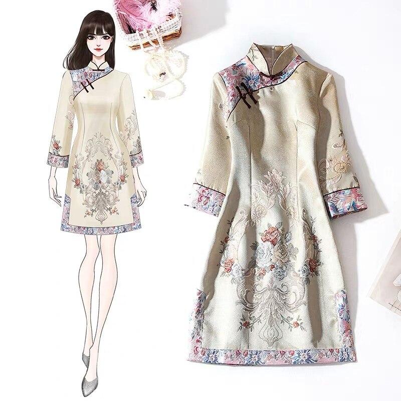 2020 Modern Party Cheongsam Qipao Dress Chinese Traditional Dress Women's Cheongsam Embroidery Sequins Modern Oriental Qipao