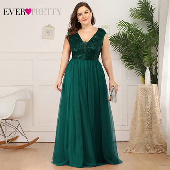 Plus Size Sequined Prom Dresses Ever Pretty EP00983 A-Line V-Neck Sleeveless Tulle Elegant Evening Party Gowns Gala Jurken 2020