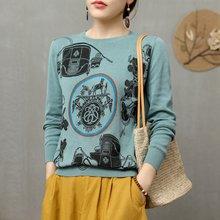 Харадзюку Модный женский теплый жаккардовый свитер с рисунком