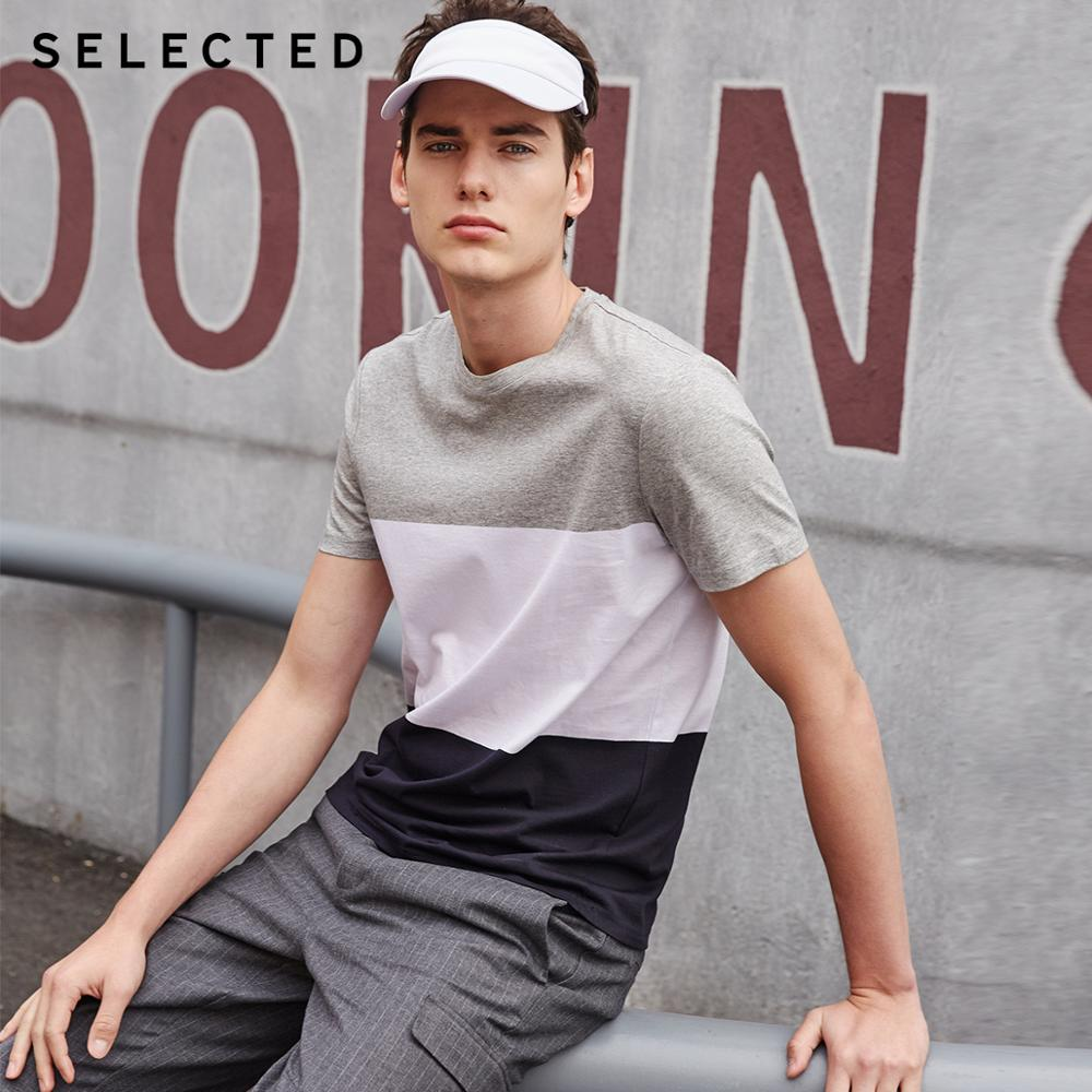 SELECTED Men's 100% Cotton Contrast Stitching Summer Short-sleeved T-shirt S | 419201512