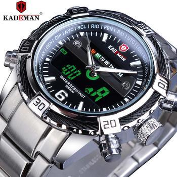 цена на KADEMAN Fashion Brand Mens Watch Dual Display Sport Watches Stainless Steel Strap LCD Date Digital Quartz Clock Erkek Kol Saati