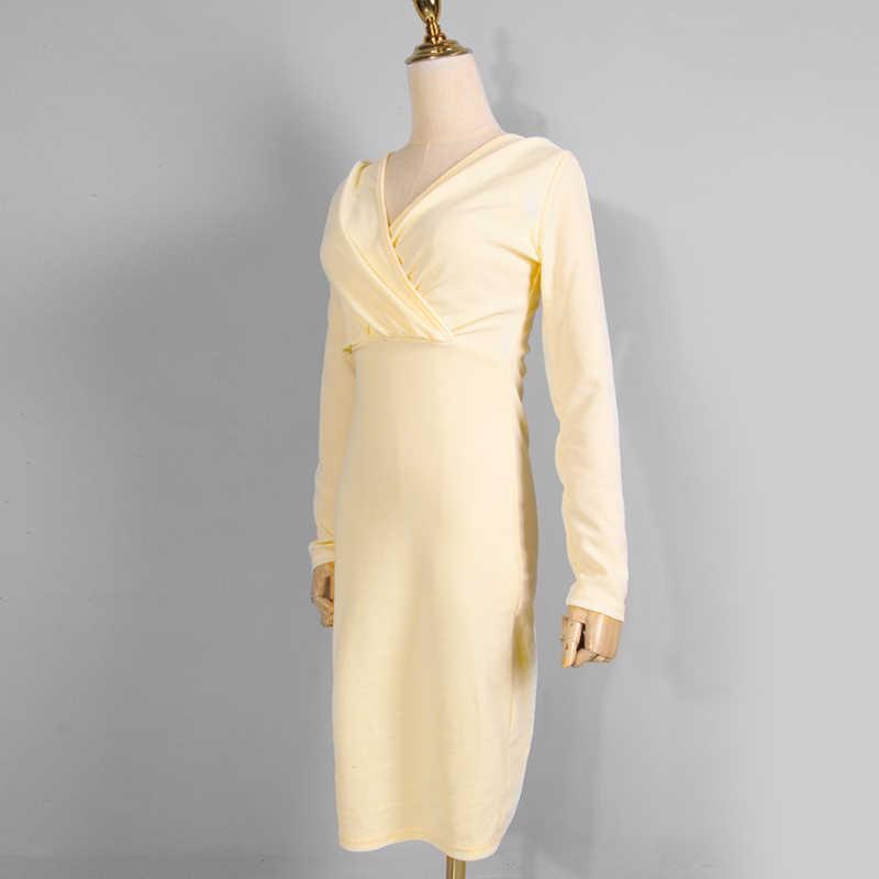 סקסי עמוק V-צוואר ארוך שרוולים המפלגה שמלה אלגנטי הדוק עיפרון מתאים עבור מועדון חתונות שמלות