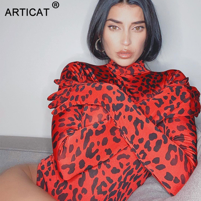 Articat Sexy Leopard Print Long Sleeve Bodysuit Women Bodycon Fashion Nova Rompers With Gloves Stretch Female Sheer Jumpsuits