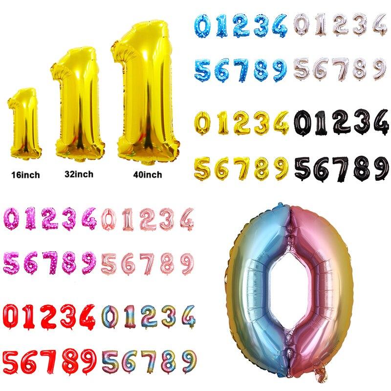 16 32 40 дюймов фольга с цифрами, гелиевый воздух, алюминиевая фольга, праздничные украшения из шаров на день рождения для детей и взрослых, бол...