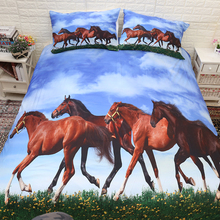 3D Horses Bedding Set Animal Duvet Cover pillowcase Twin King Queen Size bedclothes 3pcs home textiles цена