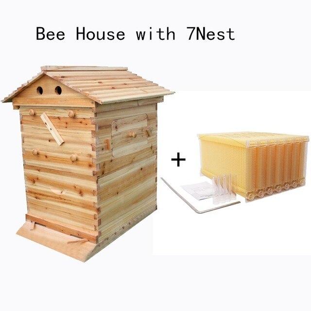 אוטומטי עץ כוורת בית עץ דבורים תיבת ציוד גידול דבורים כוורן כלי לכוורת דבורים אספקת 66*43*26cm באיכות גבוהה