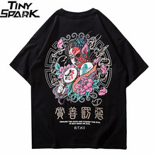 2020 T 셔츠 Streetwear Men Good And Evil 프린트 힙합 티셔츠 한자 하라주쿠 티셔츠 코튼 반소매상의 티셔츠