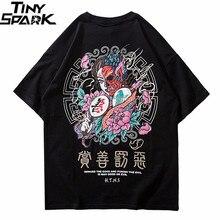 2020 Áo Dạo Phố Nam Thiện Ác In Áo Thun Hip Hop Trung Quốc Nhân Vật Bông Tai Kẹp Áo Thun Nữ Cotton Thun Cao Cấp tee