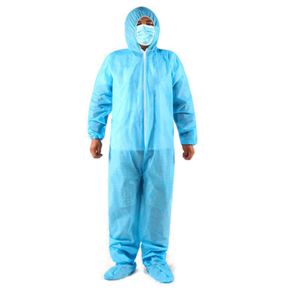 PP/SMS Safety Suit Chemical Health care Protective Dust-proof Clothing Workwear Hooded Coverall With Foot cover