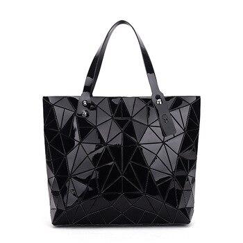WSYUTUO Handbag Female Folded Ladies Geometric Plaid Bag Fashion Casual Tote Women Handbag Shoulder Bag