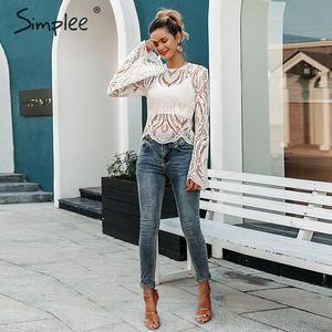 Image 3 - Simplee 섹시한 속이 빈 레이스 자수 여성 블라우스 셔츠 우아한 플레어 슬리브 여성 파티 셔츠 투명 숙녀 탑 셔츠