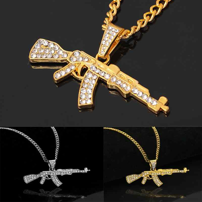 Kreatif AK-47 Bergulir Pistol Senapan Mesin Ringan Berbentuk Hip Hop Emas Senapan Liontin Kalung Berlian Imitasi Kuba Rantai Perhiasan