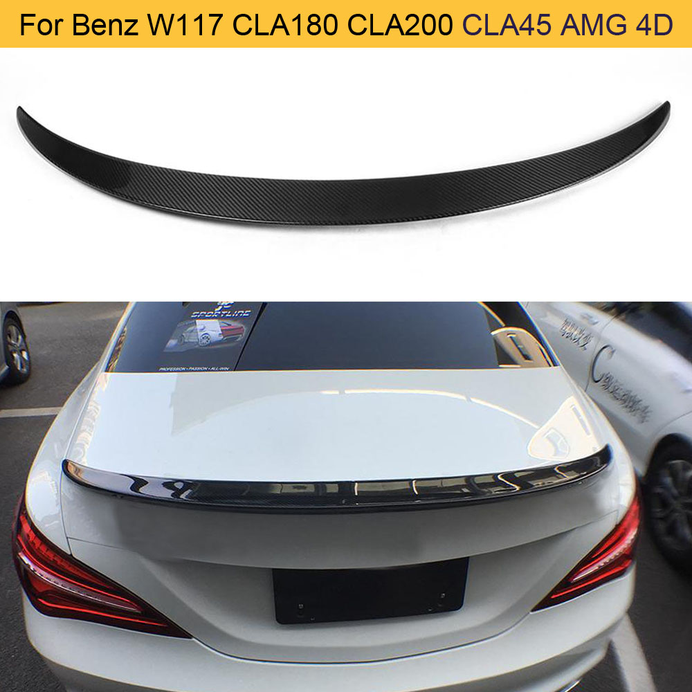 Carbon Fiber Car Rear <font><b>Spoiler</b></font> Wing for Mercedes Benz W117 C117 CLA45 AMG CLA180 CLA200 <font><b>CLA250</b></font> Sedan 2013-2017 Rear Trunk <font><b>Spoiler</b></font> image