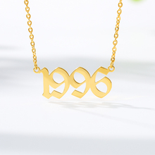Personalized Old English Number Necklaces Women Men Custom Jewelry Year 1992 1993 1994 1995 1996 1997 1998 1999 Birthday Gift